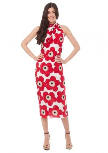 D&G, Red Flowers On White Pareo