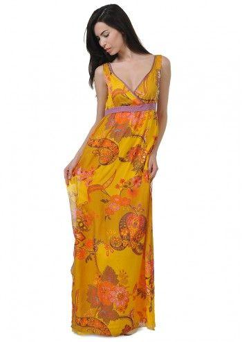 Tru Trussardi, Flowery Yellow Dress