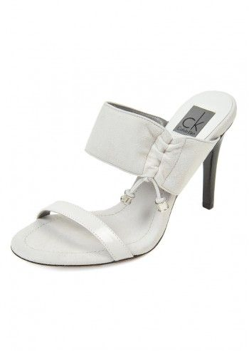 CK Calvin Klein, Woman Danielle Dusted White Suede Slipper Sanda