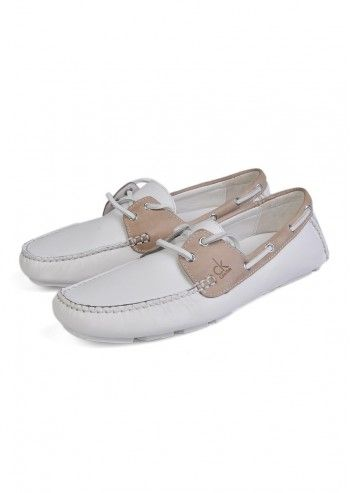 CK Calvin Klein, Man Steve White and Sand Beige Leather Shoes