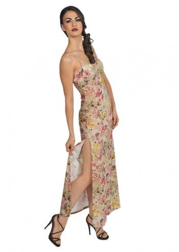 Galliano, Floral Colorful Maxi Dress