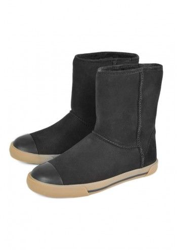 UGG® Australia, Kids Black Delaine Leather Boots