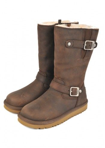 UGG® Australia, Kids Dark Brown Kensington Leather Boots