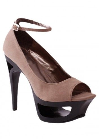 Impatto, Jolidon Beige High Heels Peep Toe Shoes