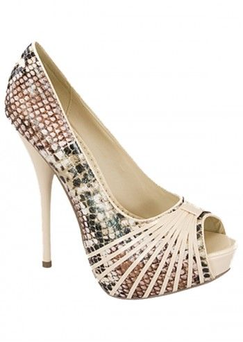 Impatto, Amazonian Girl Ivory Peep Toe Shoes