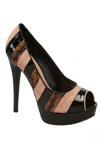 Impatto, Suzy Brown&Beige Peep Toe Shoes
