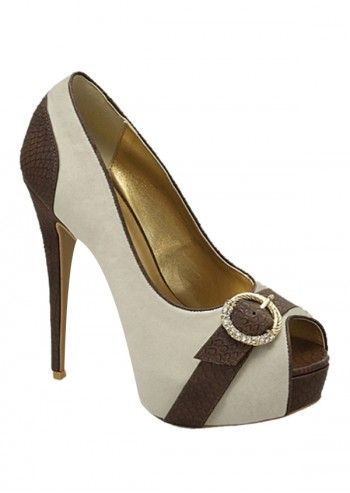 Impatto, Karina White&Black Chic Peep Toe Shoes