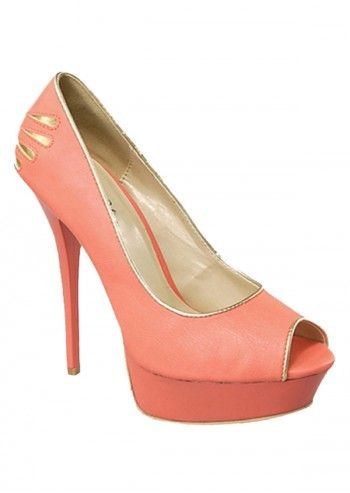 Impatto, Parisian Look Salmon Pink&Golden Peep Toe Shoes