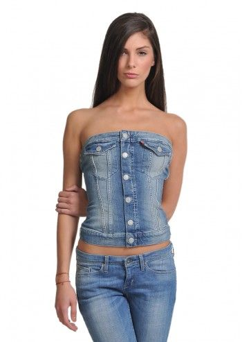 Levi's®, Woman Strapless Blue Denim Top