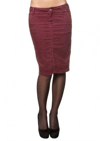 Guess, Burgundy Corduroy Midi Skirt