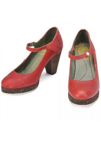 Cubanas, Deep Cerise Leather Mary Janes