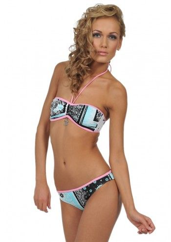 Just Cavalli, Woman Jeanie Blue&Black Print Bathing Suit