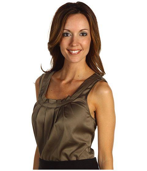 Bluza fara maneci office, cu pliuri la decolteu AK Anne Klein