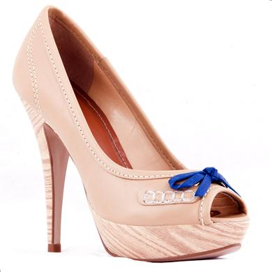 Pantofi bej din piele naturala, cu toc inalt si platforma