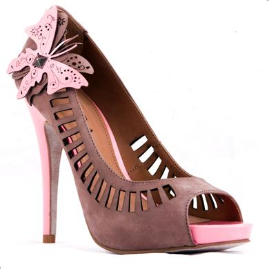 Pantofi palatforma si peep toe din piele perforata