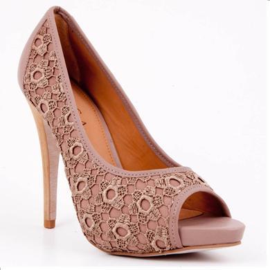 Pantofi toc inalt dark sand din piele naturala
