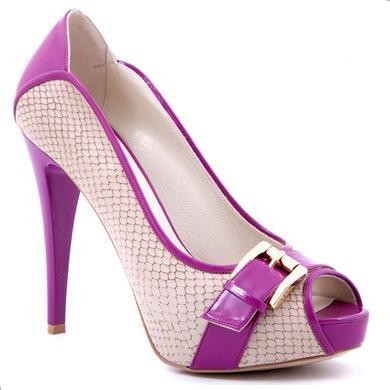 Pantofi Epica dark sand din piele de sarpe