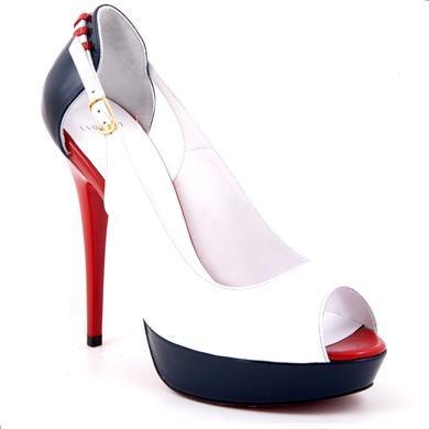 Pantofi Epica albi din lac cu toc de 12 cm