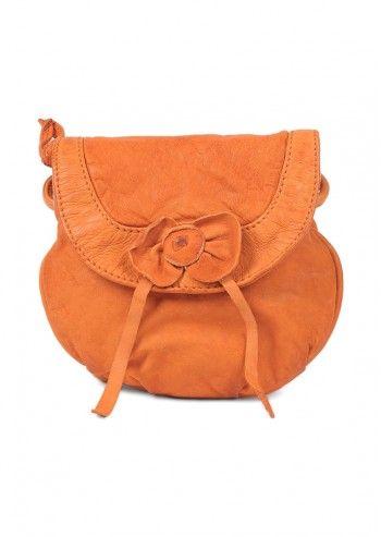 Geanta din piele portocalie, decorata cu fundita din acelasi material