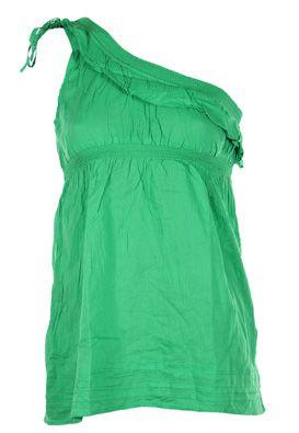 Bluza Bershka femei, prinsa pe un umar, verde