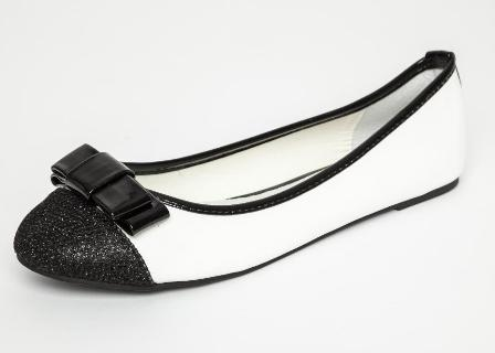 Balerini clasici de birou alb negru cu fundita