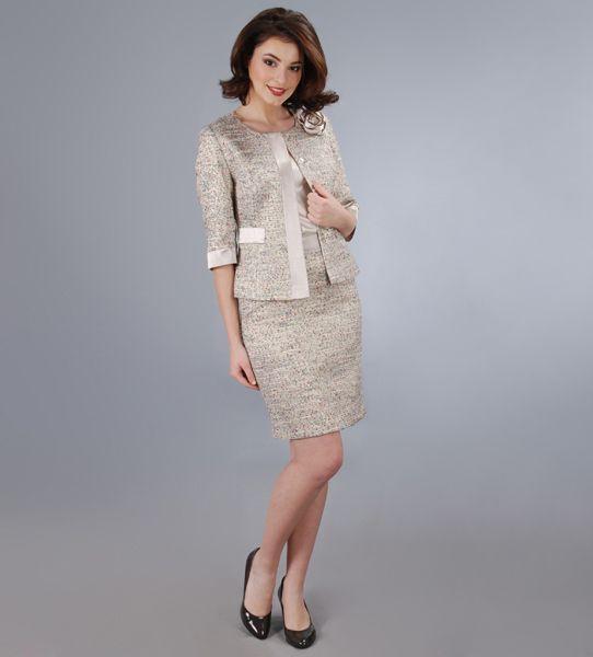 Costum de dama elegant, cu fir metalic