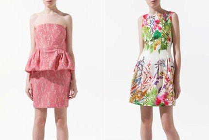Rochie Zara cu peplum - Rochie Zara cu imprimeuri cu flori