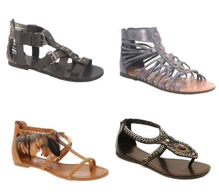 Sandale cu talpa joasa din piele