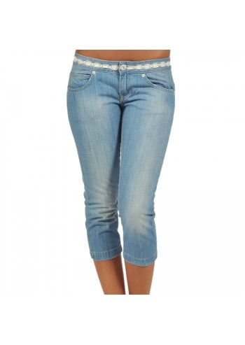 Playboy, Woman Light Blue Capri Pants