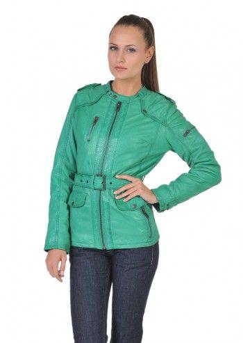 Jacheta din piele, de culoare verde