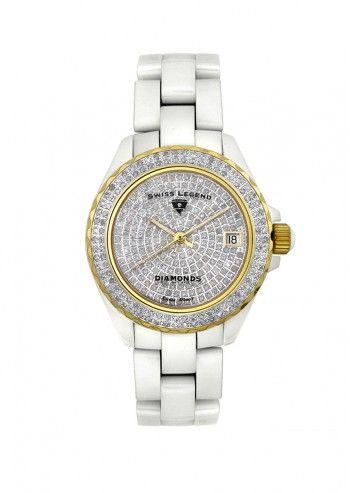Swiss Legend, Ceas de dama alb&auriu Diamond Heaven