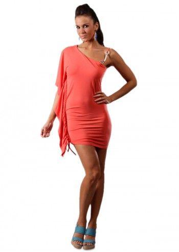 Chic Dressing, Rochie corai asimetrica Geraldine