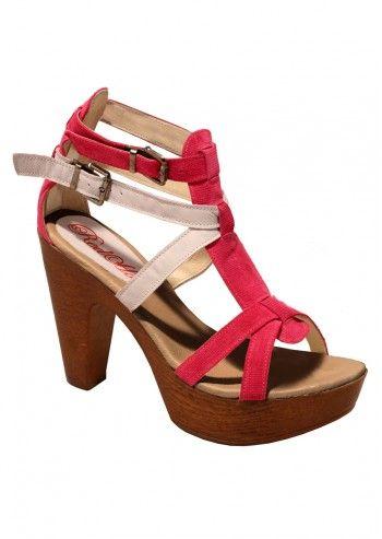 Sandale cu talpa de lemn Red Hot