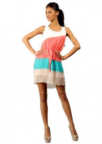 Rochie plisata in combinatii de culori