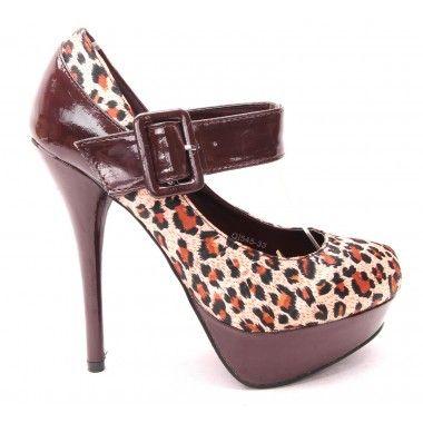 Pantofi ieftini cu imprimeu leopard