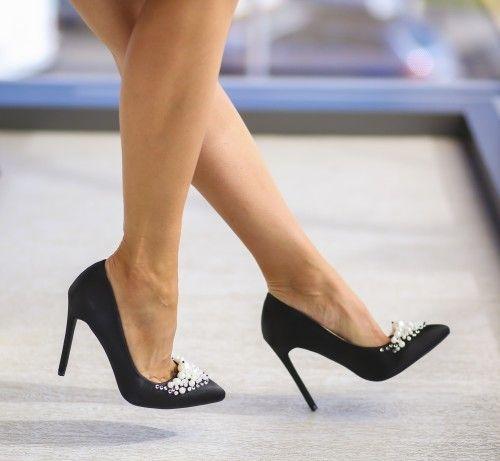 Pantofi cu toc inalt de seara si de zi negri