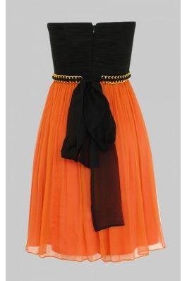 Rochie Nissa de banchet portocaliu cu negru - spate