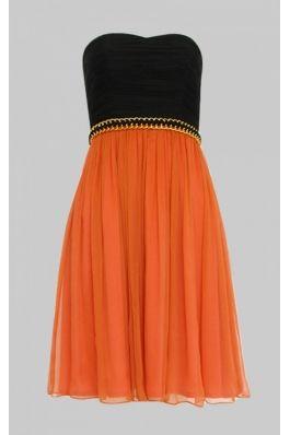 Rochie Nissa de banchet portocaliu cu negru - fata