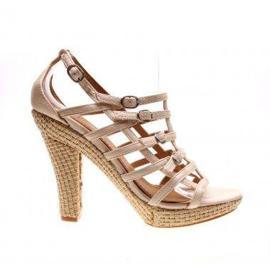 Sandale cu platforma de culoare bej