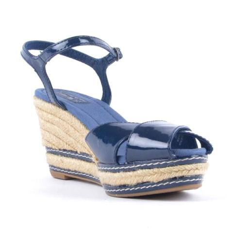 Sandale Zara cu platforma lacuite bleumarin