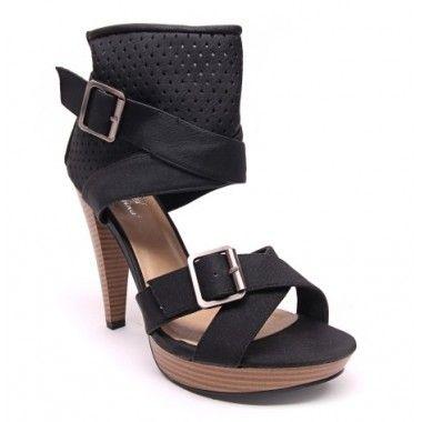 Sandale negre piele ecologica