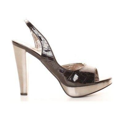 Sandale negru lacuite