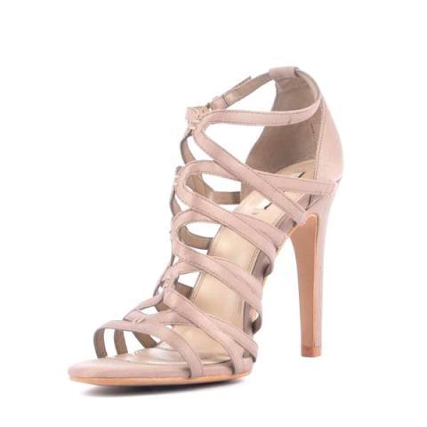 Sandale Zara cu toc inalt, culoare nude