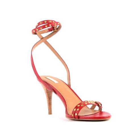 Sandale Zara rosii prinse pe glezna