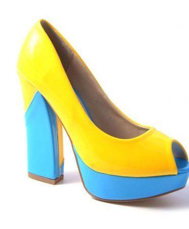 Pantofi cu platforma si toc gros in 2 culori