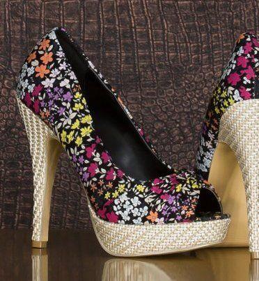 Pantofi platforma de zi cu flori