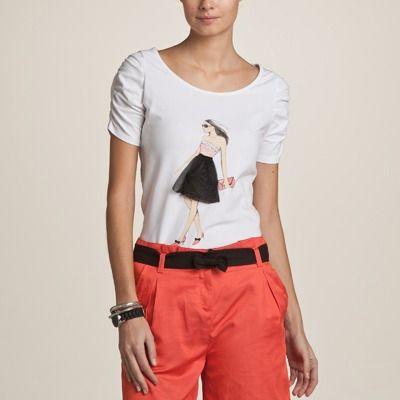 Tricou femei maneca incretita si imprimeu fashion