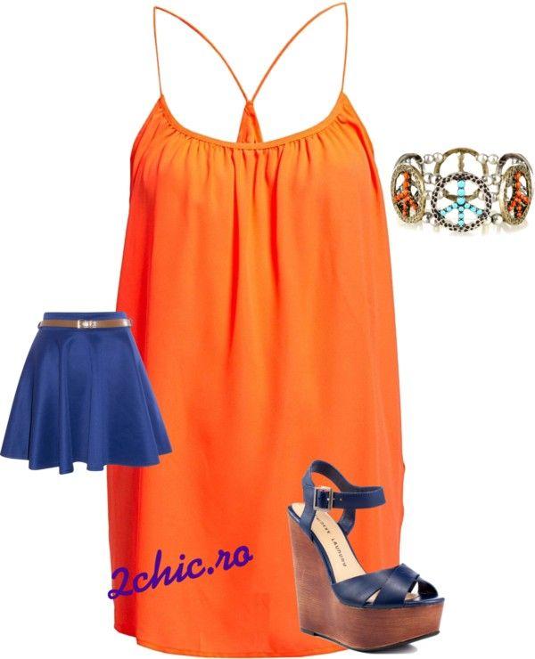 Bluza portocalie de la H&M , fusta scurta albastra, sandale cu platforma