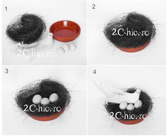 Cum faci usor un cuib cu oua pt Paste