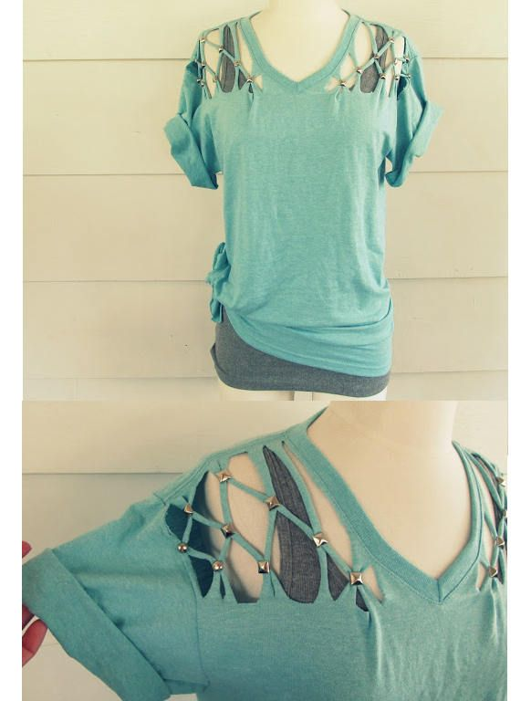 DIY un tricou decupat, cu tinte